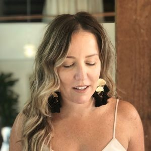 Gold Geometric Black Tassel Earrings